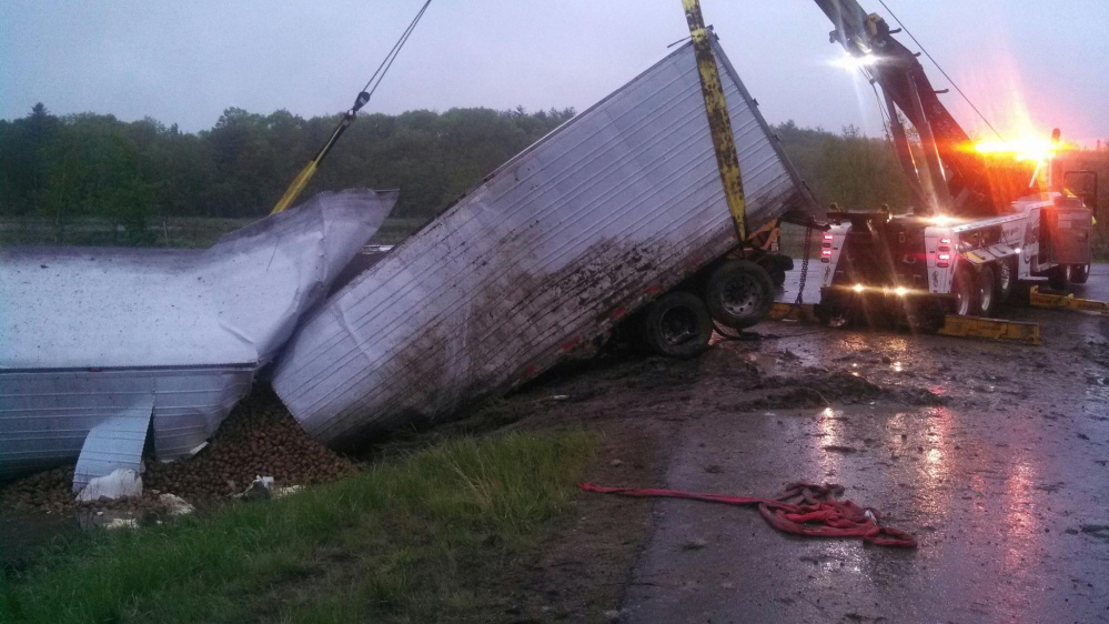 Mashed potatoes: A tractor-trailer truck carrying potatoes from northern Maine crashed on Interstate 295 in Richmond Tuesday night and went over an embankment, spilling its load.