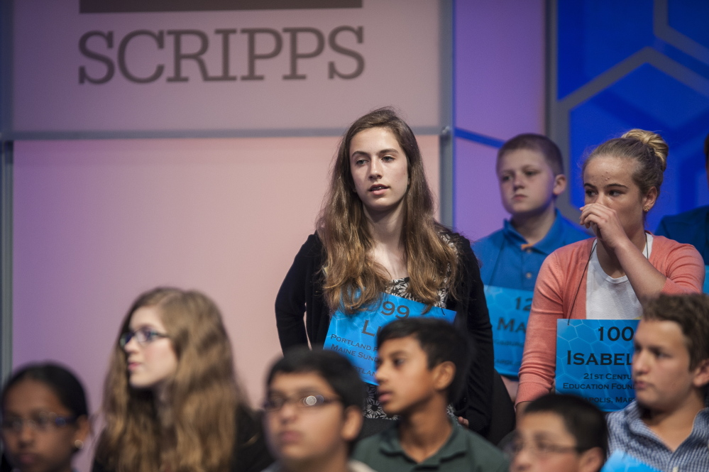 """Lucy Tumavicus, 14, of Portland participates in the preliminaries of the 87th Scripps National Spelling Bee on Wednesday in National Harbor, Md. Maine's representative at the nationals did not advance, but """"feels really good about what she did,"""" said her mother, Megan Tumavicus of Portland."""