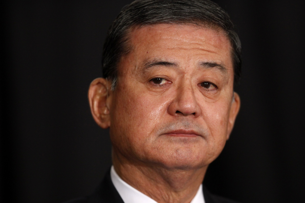 Veterans Affairs Secretary Eric Shinseki is seated before speaking at a meeting of the National Coalition for Homeless Veterans on Friday in Washington.