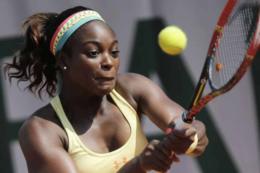 Sloane Stephens of the U.S. returns the ball during the third-round match at the French Open against Russia's Ekaterina Makarova in Paris on Saturday. Stephens won in two sets 6-3, 6-4.