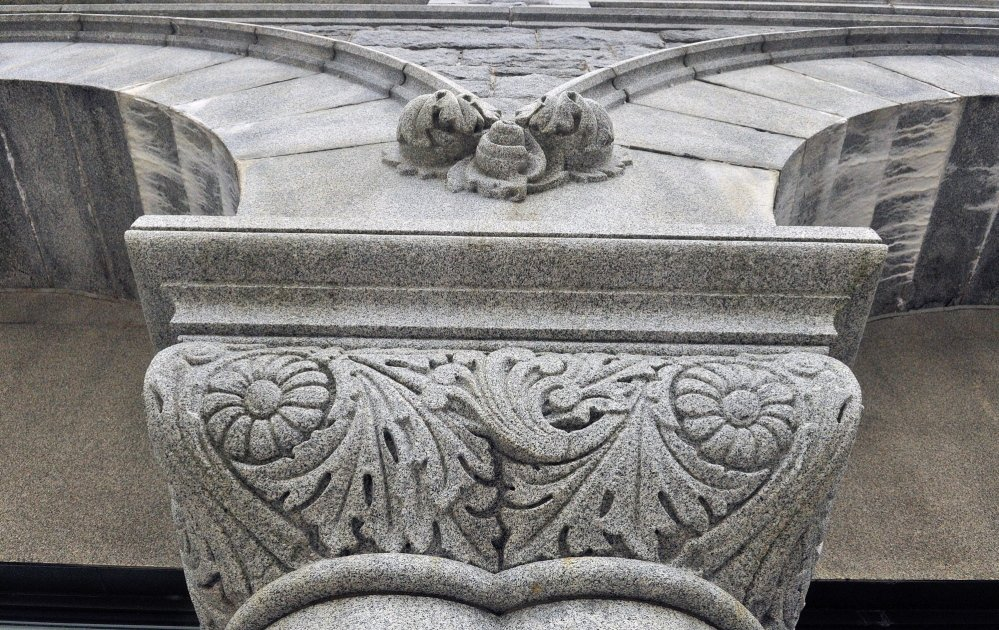 Olde Augusta: This Byzantine capital column on the Olde Federal Building office complex was carved from Hallowell granite, according Christopher Closs, field service advisor for Maine Preservation, who talking about the building Saturday during a walking tour of buildings on the National Register of Historic Places in downtown Augusta.