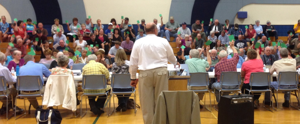 Staff Photo by Jesse Scardina Residents vote at Monday's Town Meeting in Vassalboro.