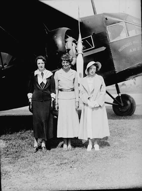 Photo courtesy of Maine State Museum Amelia Earhart at the airport in Augusta in 1934.