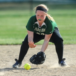 Carrabec High School third baseman Lexie Cowan (23) plays a ground ball from Monmouth Academy Wednesday in North Anson.