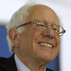 Sen. Bernie Sanders smiles as he speaks during a rally in Wisconsin in April. (AP Photo/Charles Rex Arbogast)