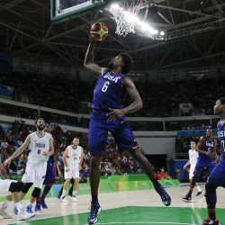 The United States' DeAndre Jordan (6) pulls in a rebound against Serbia during the men's gold medal basketball game in Rio de Janeiro on Sunday. Associated Press/Eric Gay