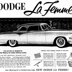 """The 1955 Dodge La Femme, dubbed the """"first and only car designed for Your Majesty, the modern American woman,"""" illustrates the evolution of the auto industry, which is now driven by women."""