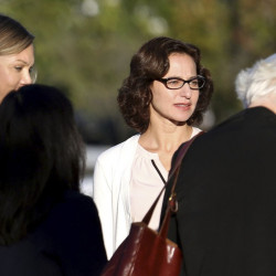 """Sabrina Erdely enters the federal courthouse in Charlottesville, Va. Erdely wrote """"A Rape on Campus,"""" a discredited Rolling Stone article."""