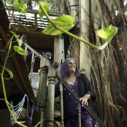 Shawnee Chasser stands on the staircase of her treehouse in Miami. She is protesting code inspectors' declaration that her home is unfit for human habitation.