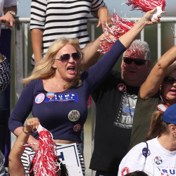 A woman cheers Republican presidential candidate Donald Trump at a rally at Orlando Sanford International Airport on Tuesday in Sanford, Fla.