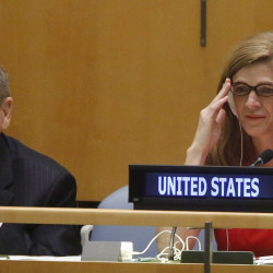 U.S. Ambassador to the U.N. Samantha Power, right, listens during a meeting of the U.N. General Assembly on Wednesday at U.N. headquarters.