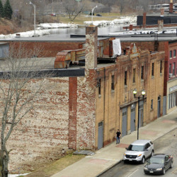 This March 10 photo shows the Colonial Theater, bottom left, which city officials and others hope to revitalize.