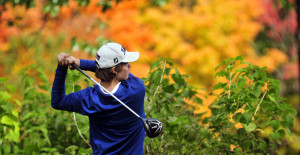 Erskine Academy golfer Connor Paine tees off on Arrowhead's 18th hole during the state team championship Saturday at Natanis Golf Course in Vassalboro.