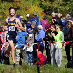 Mt. Blue senior Tucker Barber wins the Kennebec Valley Athletic Conference Class A cross country championship Saturday at Cony High in Augusta. He finished in 16:43.2.
