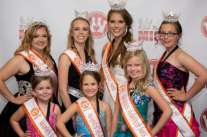 The very first Maine's Harvest Miss Pageant was held Oct. 1 at the historic Lincoln Theater in Damariscotta. The winners, front from left, are Olivia Kelley Powell, Claire Libby and Sarah Goldrup. Back, from left, are Mikele Reynolds, Zoe Grant, Makayla Wilson and Elizabeth Bowman.