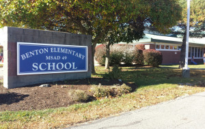 Officials said Wednesday that test results showed high levels of lead in water at Benton Elementary School, prompting the school to stop using water in the school for drinking or cooking.