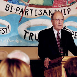 Sen. George Mitchell begins his talk about political civility during a Maine Council of Churches event in Waterville on Thursday.