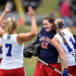 Messalonskee goalie Hannah Pinney celebrates with teammates Kaitlyn Smith, left, Lydia Dexter (7) and Sare Greenlaw (11) after they beat Cony 3-0 in a Class A North semifinal game Thursday afternoon in Oakland.