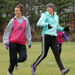 Waterville forwards Jordan Jabar, left, and Sophie Webb run down the field together while playing on opposite squads during practice Monday. The pair have turned in strong seasons for an undefeated Waterville squad that has high expectations this postseason.