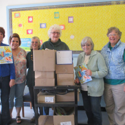 Members of the Franklin County Retired Educators delivered 10 boxes of school supplied on Oct. 14 to Spruce Mt. Elementary School in Jay. From left are Debra Timberlake, fourth-grade teacher; Carrie Mitchell, third-grade teacher; Craigen Healey, and retired educators Joanne Dunlap, Karen Mitchell and Arline Amos.
