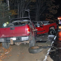 The scene of a fatal car crash Tuesday night on Lambert Hill Road in Strong.