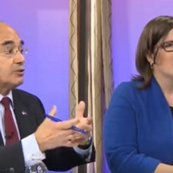 U.S. Rep. Bruce Poliquin, R-2nd District, debates Democratic challenger Emily Cain Wednesday in a forum hosted by NBC affiliate WCSH6.