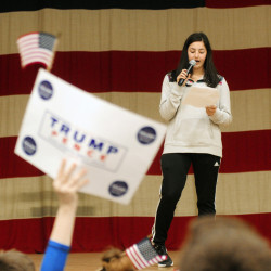 Cony student Brooklyn Merrill gives a stump speech for Donald Trump during the Secretary of State Office's Student Mock Election event on Wednesday at the Augusta Armory.