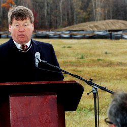 Fiberight solid waste facility CEO Craig Stuart-Paul speaks during a groundbreaking ceremony Wednesday at the site on the Coldbrook Road in Hampden.