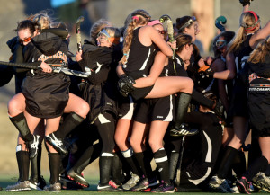 The Skowhegan Area High School field hockey team celebrates its 3-2 victory over Messalonskee in the Class A North title game Wednesday at Hampden Academy.