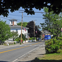 This Aug. 3 photo shows Route 27 in Belgrade Lakes village.