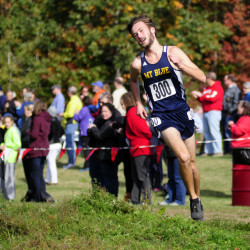 Mt. Blue senior Tucker Barber wins the Kennebec Valley Athletic Conference Class A cross country championship on Oct. 15 at Cony High in Augusta. He finished in 16:43.2.