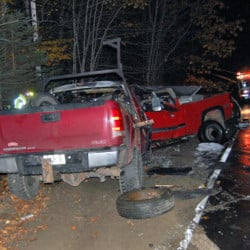 Rusty Knox, 35, of Wilton, was killed Tuesday night in a fiery two-vehicle crash on Lambert Hill Road in Strong.