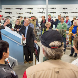 Donald Trump Jr. spoke of his love of hunting and fishing during a stop to promote his father, Republican presidential candidate Donald Trump, at Howell's Gun Shop in Gray on Tuesday.