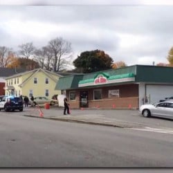 Biddeford police investigate after employees of Papa John's restaurant reported finding blood outside when they arrived at work Sunday.
